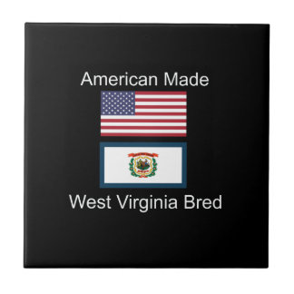 """American Born..West Virginia Bred"" Flag Design Tile"