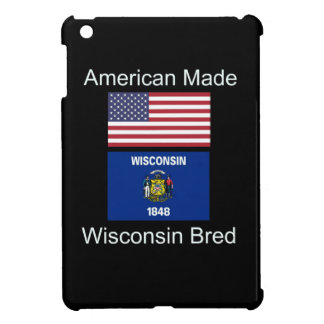 """American Born..Wisconsin Bred"" Flag Design iPad Mini Covers"