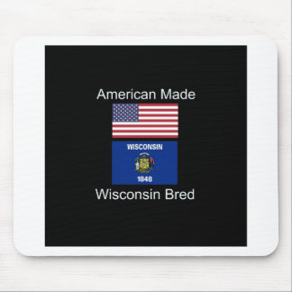 """""""American Born..Wisconsin Bred"""" Flag Design Mouse Pad"""