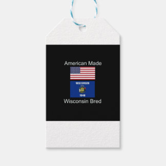 """""""American Born..Wisconsin Bred"""" Flag Design Pack Of Gift Tags"""