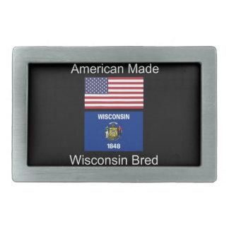 """American Born..Wisconsin Bred"" Flag Design Rectangular Belt Buckle"