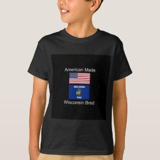"""American Born..Wisconsin Bred"" Flag Design T-Shirt"