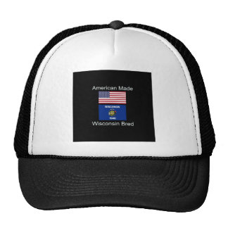 """American Born..Wisconsin Bred"" Flag Design Trucker Hat"