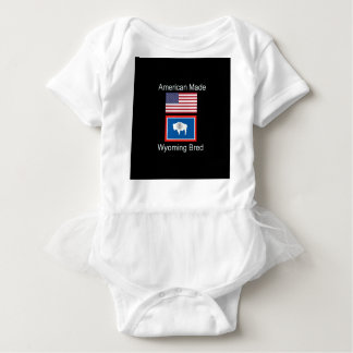 """""""American Born..Wyoming Bred"""" Flags and Patriotism Baby Bodysuit"""