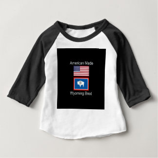 """American Born..Wyoming Bred"" Flags and Patriotism Baby T-Shirt"