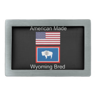 """American Born..Wyoming Bred"" Flags and Patriotism Belt Buckle"