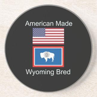"""American Born..Wyoming Bred"" Flags and Patriotism Beverage Coasters"