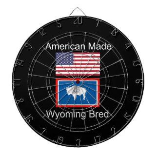 """American Born..Wyoming Bred"" Flags and Patriotism Dartboard"