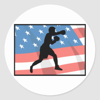 American Boxing Round Stickers