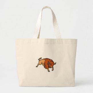 American Buffalo Jumping Mono Line Large Tote Bag