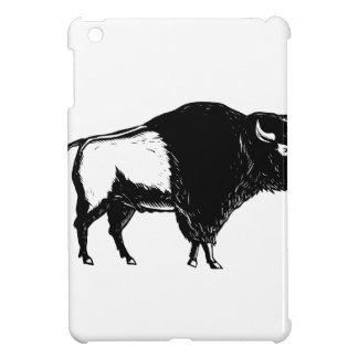 American Buffalo Side Woodcut Black and White Case For The iPad Mini