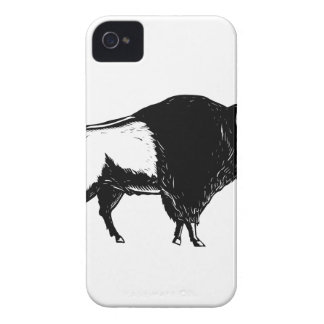 American Buffalo Side Woodcut Black and White Case-Mate iPhone 4 Case