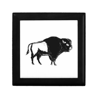 American Buffalo Side Woodcut Black and White Gift Box
