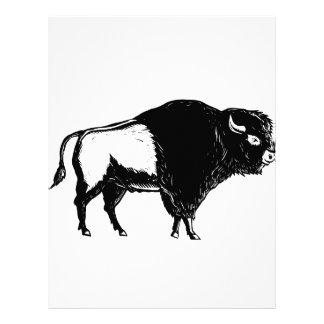 American Buffalo Side Woodcut Black and White Letterhead