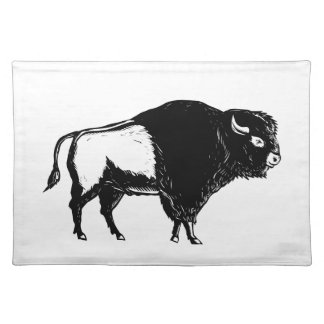 American Buffalo Side Woodcut Black and White Placemat