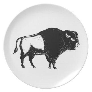 American Buffalo Side Woodcut Black and White Plate