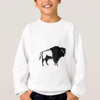 American Buffalo Side Woodcut Black and White Sweatshirt
