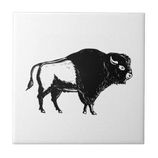 American Buffalo Side Woodcut Black and White Tile