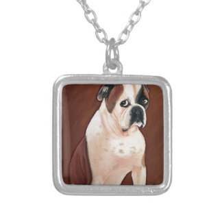American Bull Dog Silver Plated Necklace