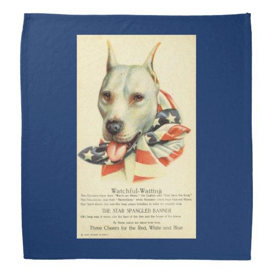 American Bull Terrier, Antique Postcard circa WWI Kerchiefs