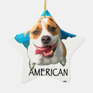 american bulldog ceramic star ornament