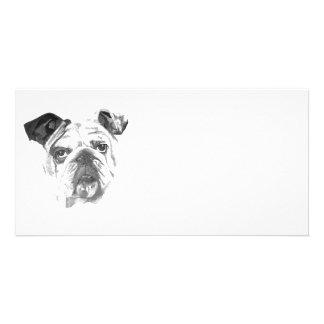 American Bulldog Greyscale Photo Card