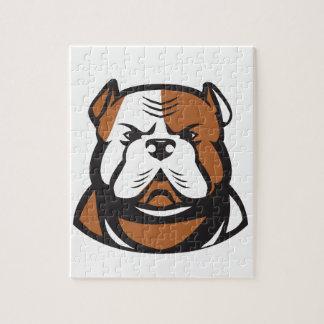 American Bulldog Head Front Retro Jigsaw Puzzle
