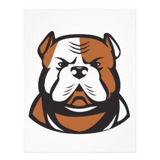 American Bulldog Head Front Retro Letterhead
