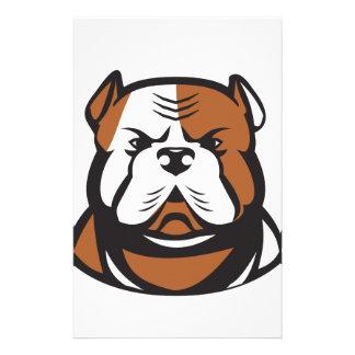 American Bulldog Head Front Retro Stationery