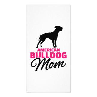 American Bulldog Mom Customized Photo Card