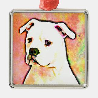 American Bulldog Pop Art Portrait Metal Ornament