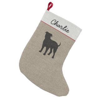 American Bulldog Silhouette with Custom Text Small Christmas Stocking