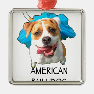 american bulldog Silver-Colored square ornament