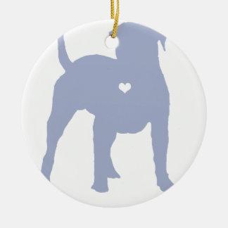American Bulldog with a heart dog art silhouette Round Ceramic Ornament