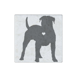 American Bulldog with a heart dog art silhouette Stone Magnets