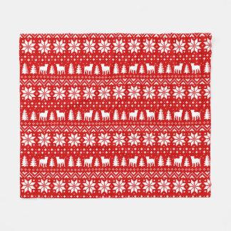 American Bulldogs Christmas Sweater Pattern Red Fleece Blanket