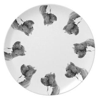 American Bully dog dinner plate