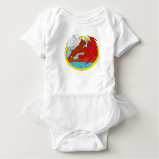 American Bully Dog Fighting Satan Drawing Baby Bodysuit