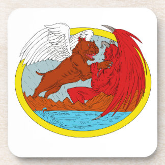 American Bully Dog Fighting Satan Drawing Coaster