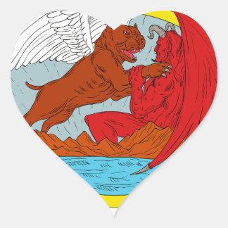 American Bully Dog Fighting Satan Drawing Heart Sticker