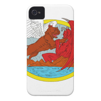 American Bully Dog Fighting Satan Drawing iPhone 4 Case