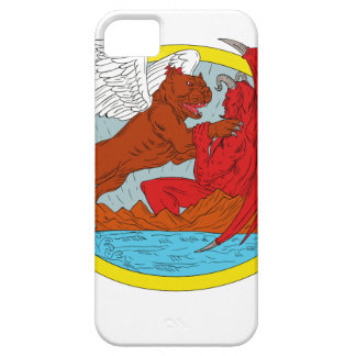 American Bully Dog Fighting Satan Drawing iPhone 5 Case