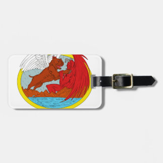 American Bully Dog Fighting Satan Drawing Luggage Tag