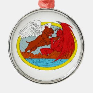 American Bully Dog Fighting Satan Drawing Metal Ornament