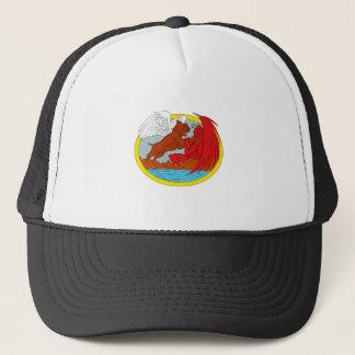 American Bully Dog Fighting Satan Drawing Trucker Hat