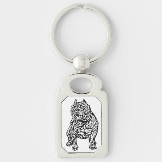 American Bully dog rectangle keychain