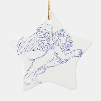 American Bully With Wings Drawing Ceramic Ornament