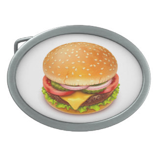 American Burger Oval Belt Buckle