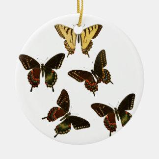 American Butterflies Round Ceramic Ornament