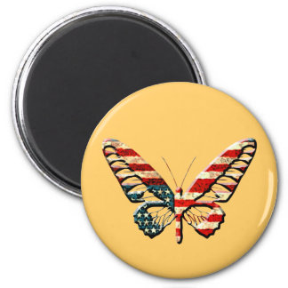 American Butterfly 2 Inch Round Magnet